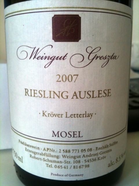 Andrzej Greszta Krover Letterlay Riesling Auslese 2007