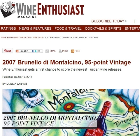 Wine Enthusiast Brunello 2007